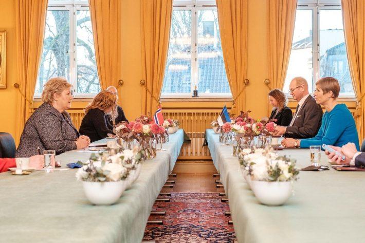 Eesti Vabariigi president Kersti Kaljulaidi kohtumine Norra peaminister Erna Solbergiga. Foto: Vabariigi Presidendi kantselei
