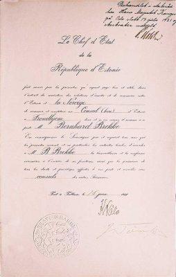Estlands honorære konsul i Trondheim Bernhard Mathias Brekkes utnevnelsesbrev som honorær konsul fra 1931. Foto: https://www.bbrekke.no/
