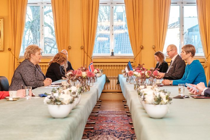 Estlands president Kersti Kaljulaid møtte Norges statsminister Erna Solberg. Foto: Den estiske presidentens kontor