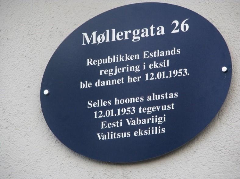 Mälestustahvel Eesti Vabariigi valitsusele eksiilis